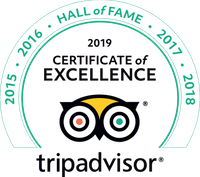 TripAdvisor certificate of Excellence and Hall of Fame