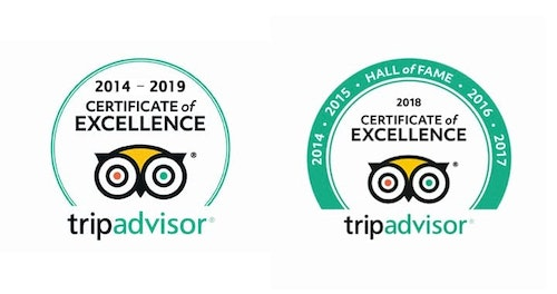 TripAdvisor - Certificate of Excellence 2014 to 2019, hall of fame